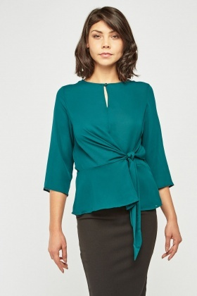 Tie Up Waist Sheer Chiffon Blouse