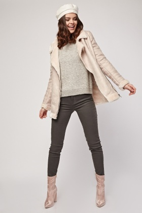 Beige Fleece Lined Suedette Jacket
