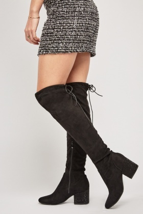 Encrusted Heel Over The Knee Boots