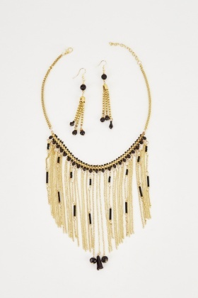 Fringed Statement Necklace And Earring Set