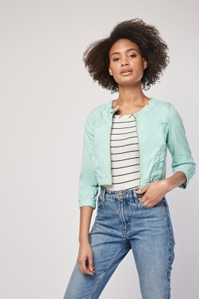 Gathered Plain Crop Jacket