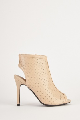Cut Out Back Peep Toe Boots