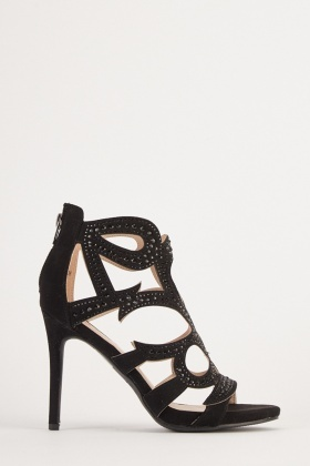 Encrusted Open Toe High Heels