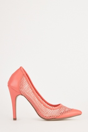 Faux Leather Mesh Contrast Heels