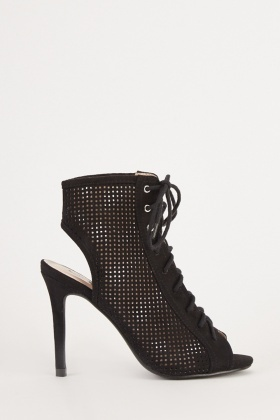 Perforated Lace Up Peep Toe Boots