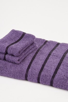 Striped Purple Set Of 3 Towels