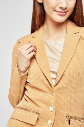 Decorative Button Front Fitted Blazer