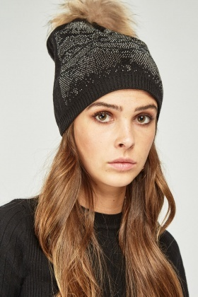 Diamante Encrusted Beanie Hat