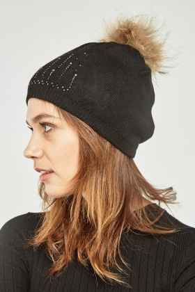 Diamante Encrusted Fluffy Hat