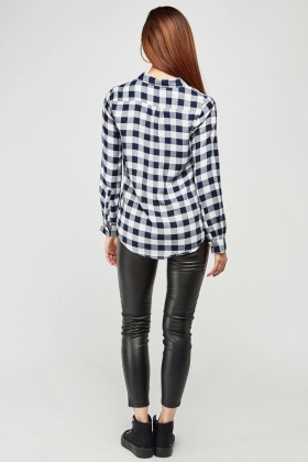 Embroidered Sequinned Gingham Shirt