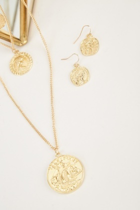 Engraved Coin Necklace And Earrings Set