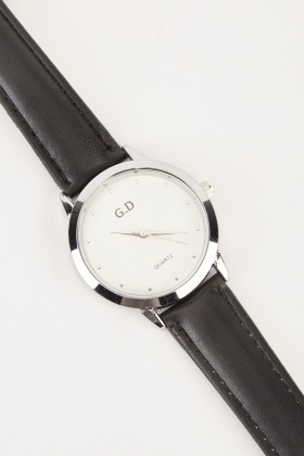 Faux Leather Stitched Strap Watch