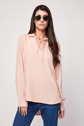 Tie Up Neck Front Blouse