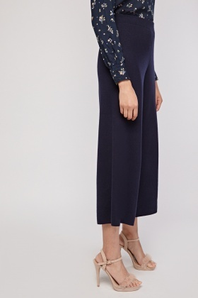 Wide Leg Knitted Culotte Pants