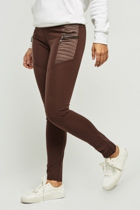 Zip Up Stitched Panel Skinny Trousers