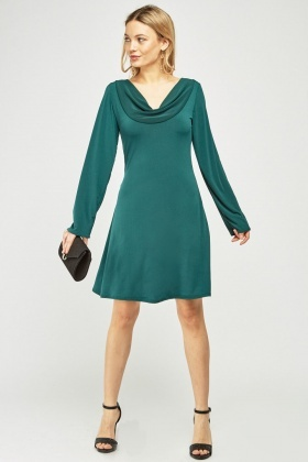 Cowl Neck Flared Swing Dress