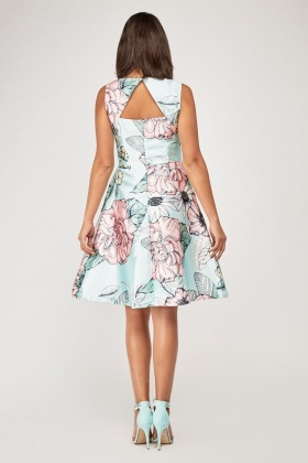 Floral Printed Midi A-Line Dress