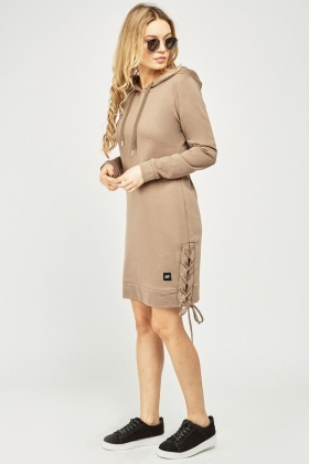 Lace Up Side Hooded Dress