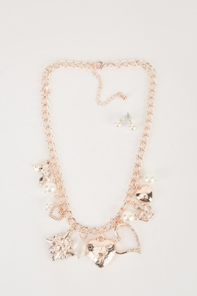 Multi-Charm Necklace And Earrings Set