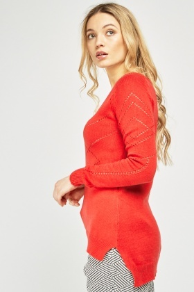 Perforated Patterned Knitted Jumper
