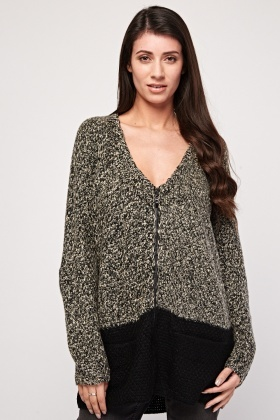 Speckled Two-Tone Knit Cardigan
