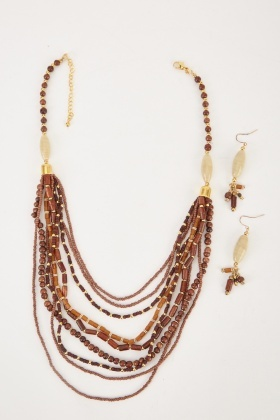 Tribal Beaded Earrings And Necklace Set