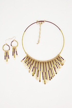 Tribal Fringed Necklace And Dangly Earrings Set
