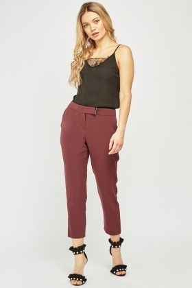 Wine Ankle Grazer Tapered Trousers