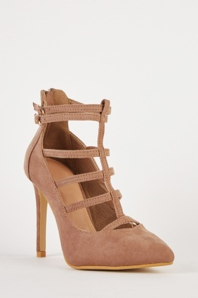 Cut Out T-Strap Court Heels