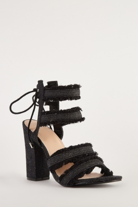 Denim Raw Trim Block Heels