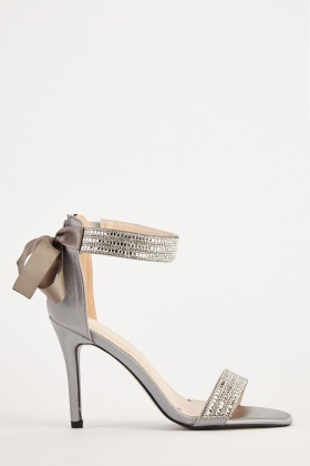 Embellished Trim Ribbon Back Heels