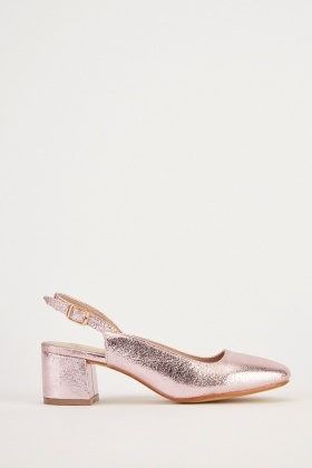 Metallic Textured Slingback Heels