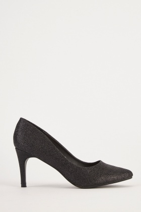Shimmery Heeled Court Shoes