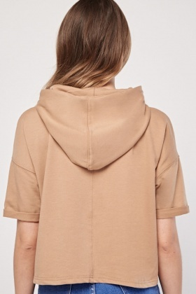 Casual Hooded Crop Top