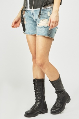 Faux Leather Eyelet Trim Boots
