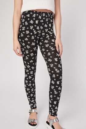 Floral Polka Dot Printed Leggings