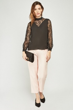 Lace Inserted Sheer Blouse
