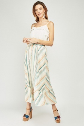 Linen Stripe Maxi Skirt