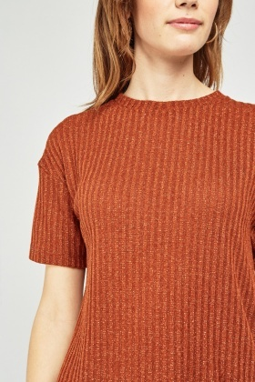 Lurex Rust Ribbed Top