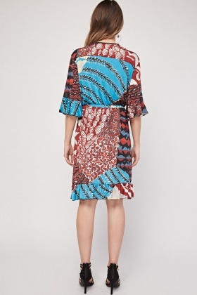 Mix Printed Bell Sleeve Wrap Dress