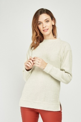 Textured Long Sleeve Knitted Jumper