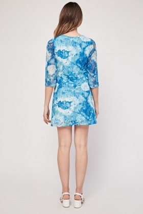 Tie-Dyed Lace Overlay Dress