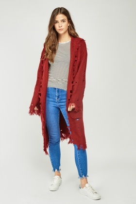 Distressed Long Line Cardigan