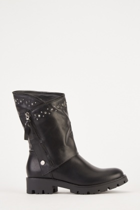 Encrusted Trim Faux Leather Boots