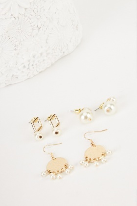 Faux Pearl Earrings Set