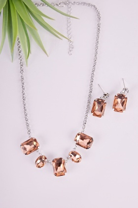 Gem Statement Necklace And Earrings Set