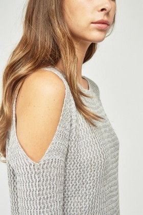 Herringbone Cold Shoulder Knit Jumper