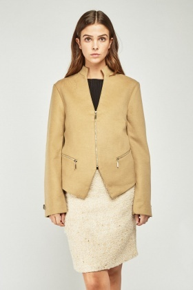 Mandarin Collar Textured Jacket