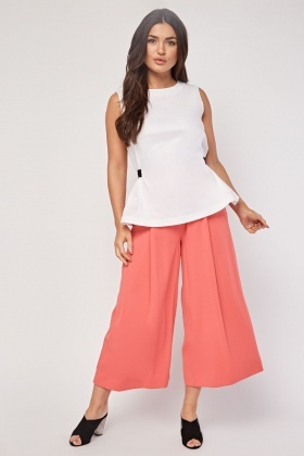 Partly Linen Peplum Top