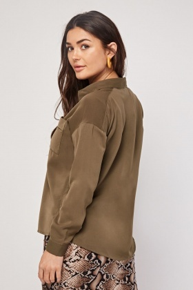 Patched Pocket Front Blouse